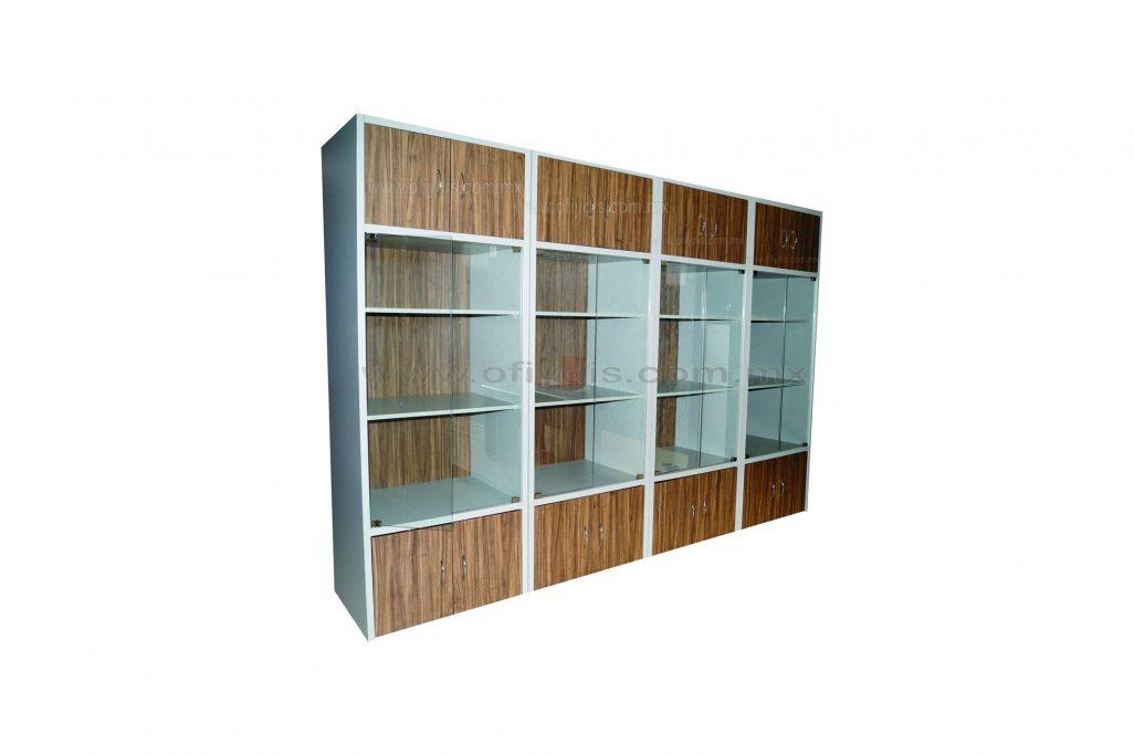 Librero con puertas de cristal ofiydis muebles para oficina for Puertas de cristal para oficina