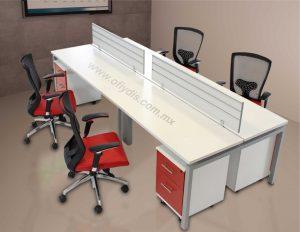 mesa de trabajo con mamparas