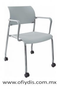 silla de visita cuatro patas cromada con rodajas con brazos, E-39551 ofiydis