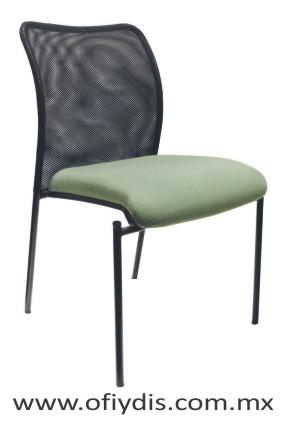 silla de visita cuatro patas negras sin brazos respaldo malla tapizado en tela o vinil E-38550 ofiydis