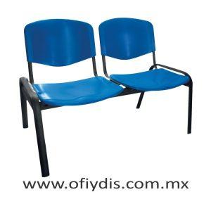 "Banca de espera 2 plazas, patas ovalada 2"" negra, asiento y respaldo polipropileno E-45258 ofiydis"