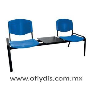 """Banca de espera 2 plazas con mesa, patas ovalada 2"""" negra, asiento y respaldo polipropileno. E-45258-M-1 ofiydis"""