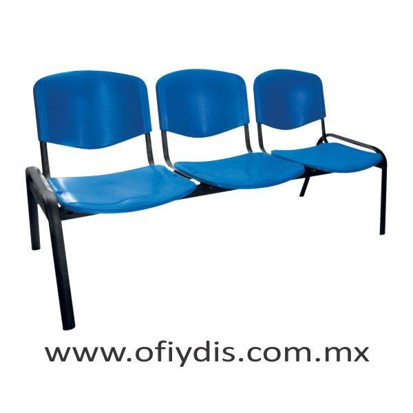 "Banca de espera 3 plazas, patas ovalada 2"" negra, asiento y respaldo polipropileno E-45358-1 ofiydis"