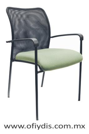 silla de visita cuatro patas negras con brazos E-38551 ofiydis