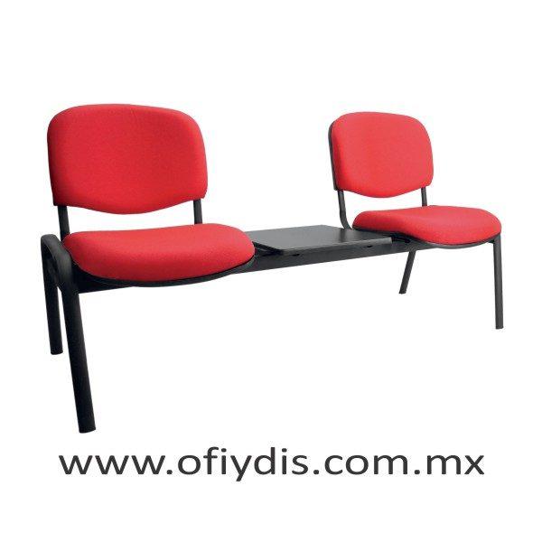 """Banca de espera 2 plazas con mesa, patas ovalada 2"""" negra E-45250-M ofiydis"""