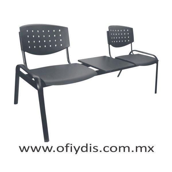 """Banca de espera 2 plazas con mesa, patas ovalada 2"""" negra E-46258-M ofiydis"""