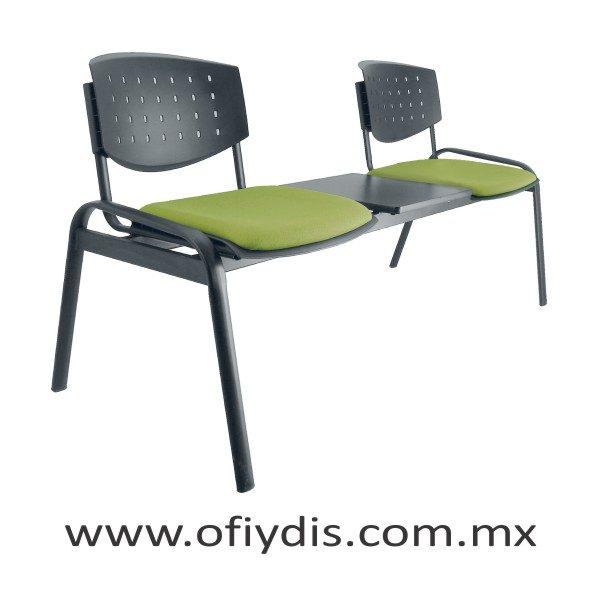"""Banca de espera 2 plazas con mesa, patas ovalada 2"""" negra, respaldo polipropileno, tapizado en tela o vinil E-46250-M ofiydis"""