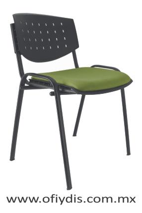 Silla de visilla cuatro patas tubo elíptico negro, sin brazos, respaldo polipropileno, tapizado en tela o vinil E-35550-1