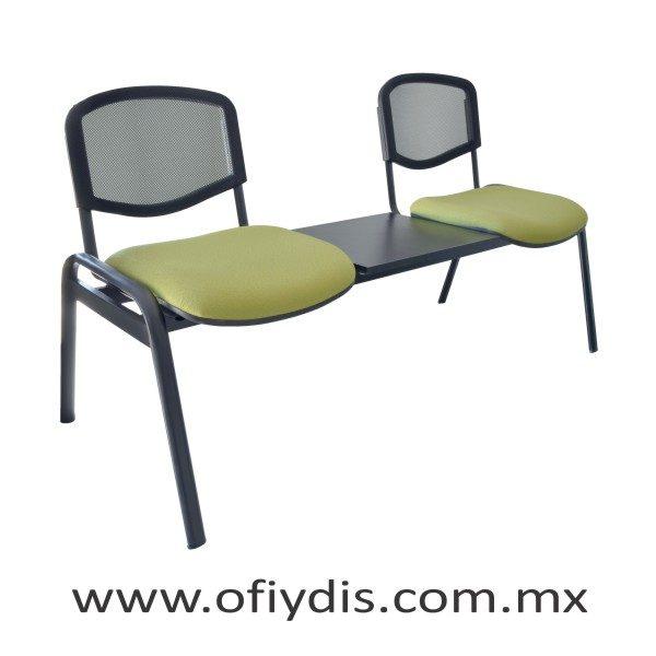 """Banca de espera 2 plazas con mesa, patas ovalada 2"""" negra, respaldo en malla E-47250-M ofiydis"""