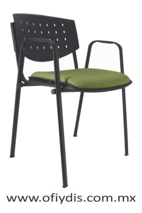 Silla de visita cuatro patas tubo elíptico negro, sin brazos, respaldo polipropileno, tapizado en tela o vinil E-35551 ofiydis