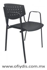 Silla de visita cuatro patas tubo elíptico negro, con brazos, asiento y respaldo polipropileno E-35559 ofiydis