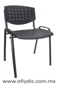 Silla de visita cuatro patas tubo elíptico negro, sin brazos, asiento y respaldo polipropileno E-35558 ofiydis