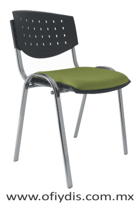 silla de visita cuatro patas tubo elíptico cromado, sin brazos, respaldo polipropileno, tapizado en tela o vinil E-35500 ofiydis