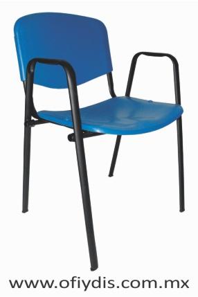 Silla de visita cuatro patas tubo elíptico negro, con brazos, asiento y respaldo polipropileno E-35059 ofiydis