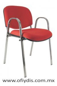 silla de vista pata oficina cromada con brazos E-35001-1 ofiydis