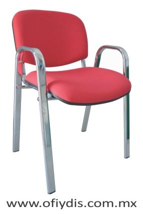 silla de visita para oficina 4 patas cromada con brazos E-36001-1 ofiydis