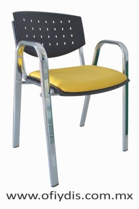 """Silla de visita cuatro patas tubo ovalado 2"""" cromado, con brazos, respaldo polipropileno, tapiz tela o vinil. E-36501 ofiydis"""