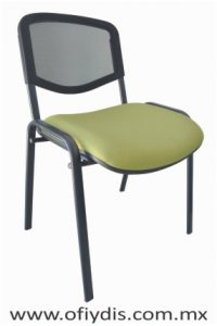 Silla de visita cuatro patas tubo elíptico negro, sin brazos, respaldo malla, asiento tapiz tela o vinil. E-34050 ofiydis