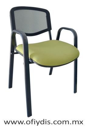"""Silla de visita cuatro patas tubo ovalado 2"""" negro, con brazos, respaldo malla, asiento tapiz tela o vinil E-34061 ofiydis"""