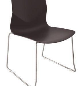 silla de visita estructura cold roll, concha de una sola pieza en polipropileno negro E-312 ofiydis