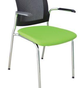 Silla de visita cuatro patas, estructura cromada, con brazos, respaldo de polipropileno y asiento en tapiz tela o vinil. E-37511 ofiydis