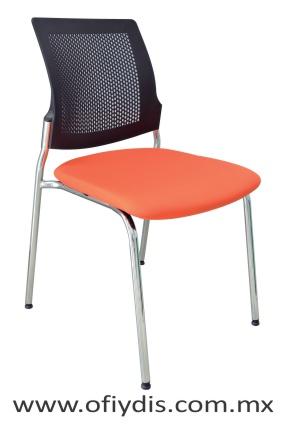 Silla de visita cuatro patas, estructura cromada, sin brazos, respaldo de polipropileno y asiento en tapiz tela o vinil E-37510 ofiydis