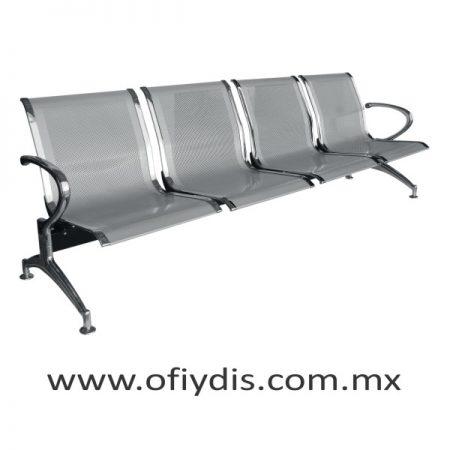 Banca de espera 4 plazas, pata cromada, concha lamina perforada color gris E-49400 ofiydis