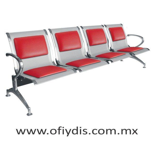 Banca de espera 4 plazas, pata cromada, concha lamina perforada color gris E-49400T ofiydis